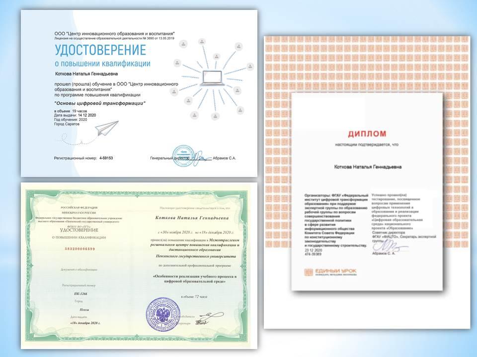 Успешное обучение по программам повышения квалификации