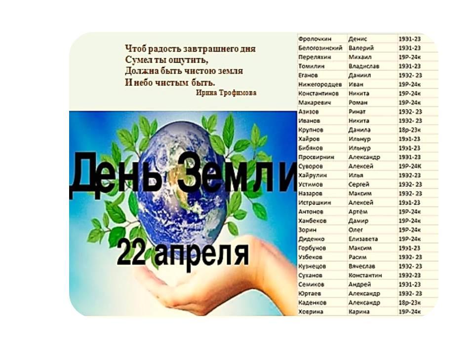 22 апреля — Всемирный день Земли