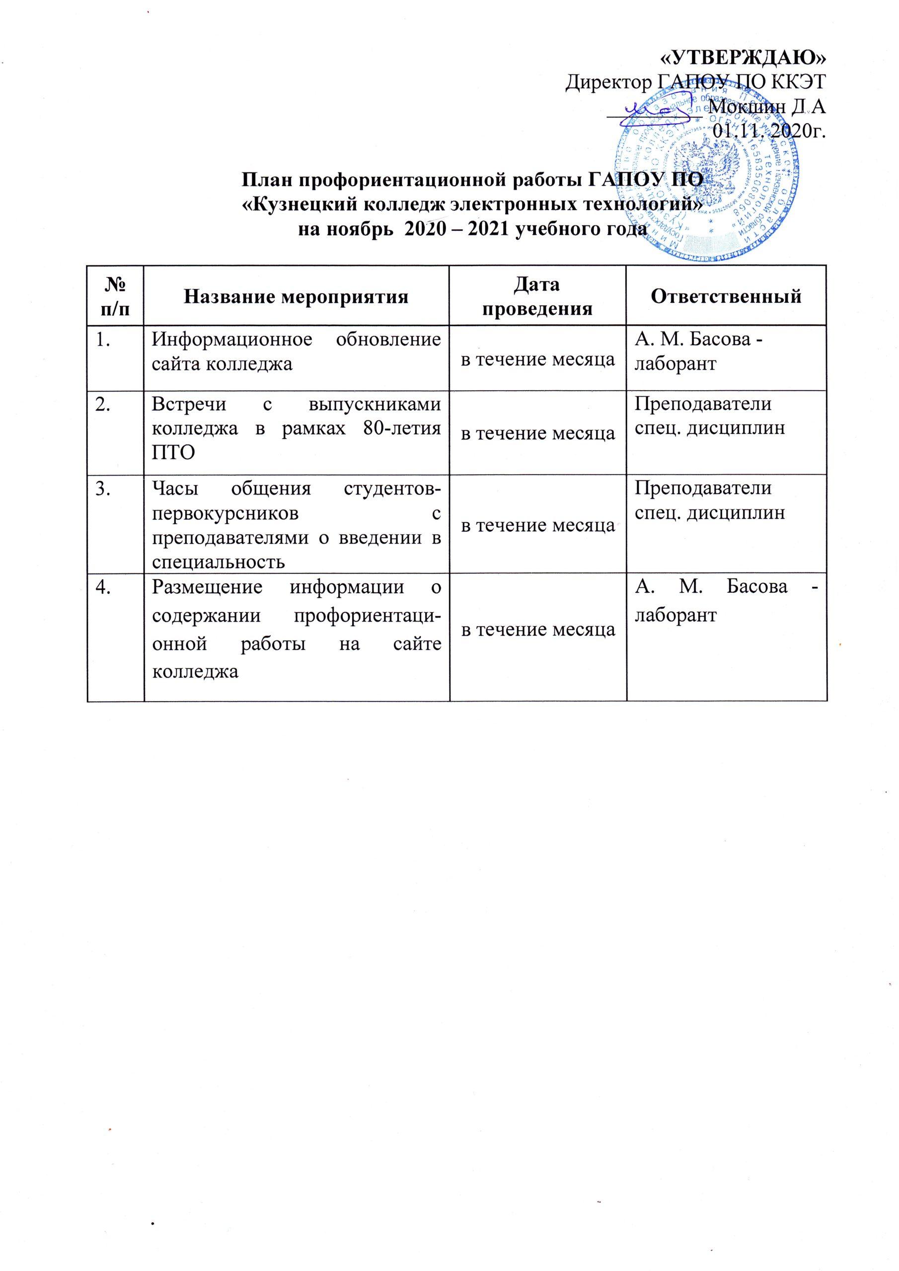 План профориентационной работы на ноябрь 2020-2021 года