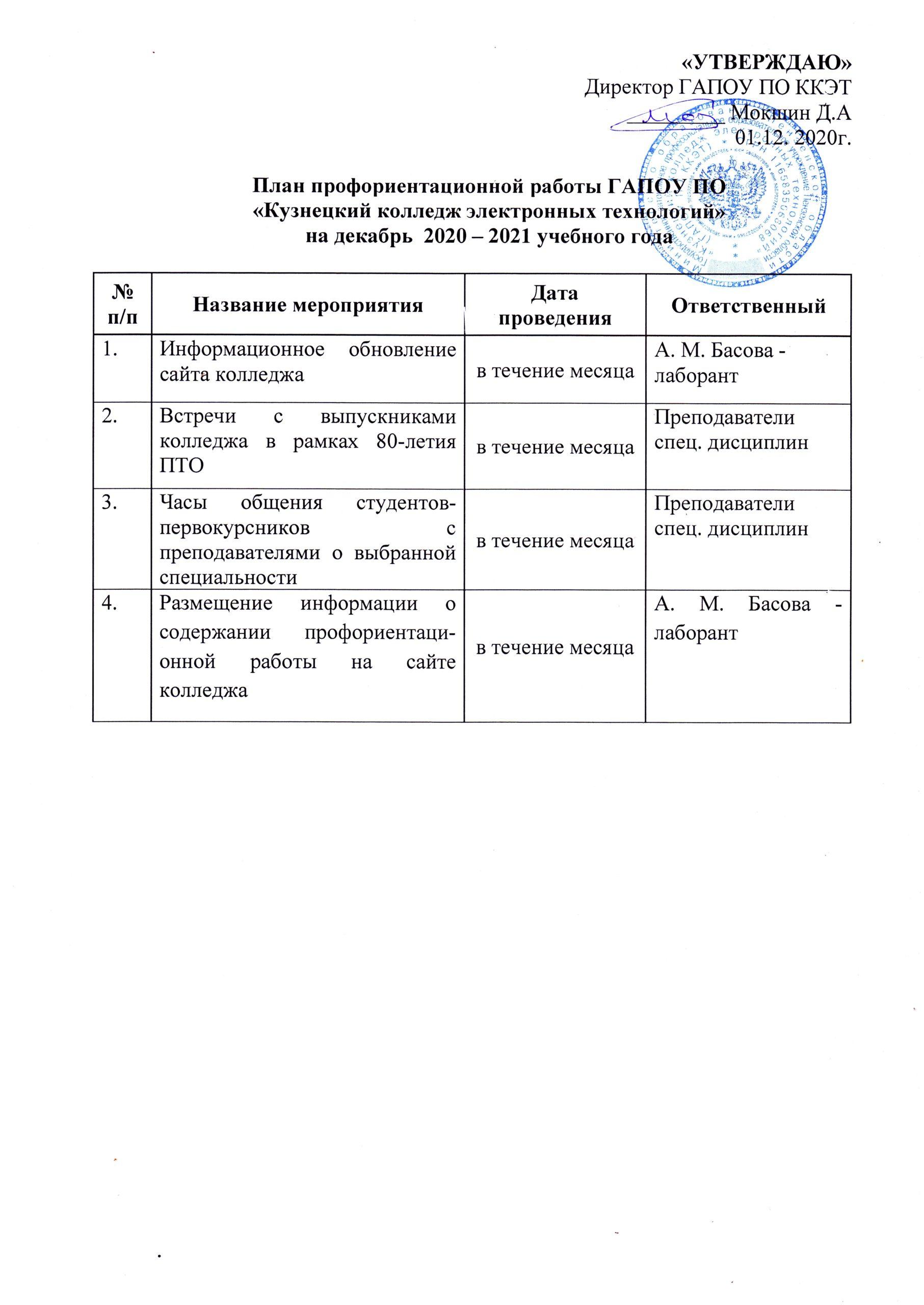 План профориентационной работы на декабрь 2020-2021 года