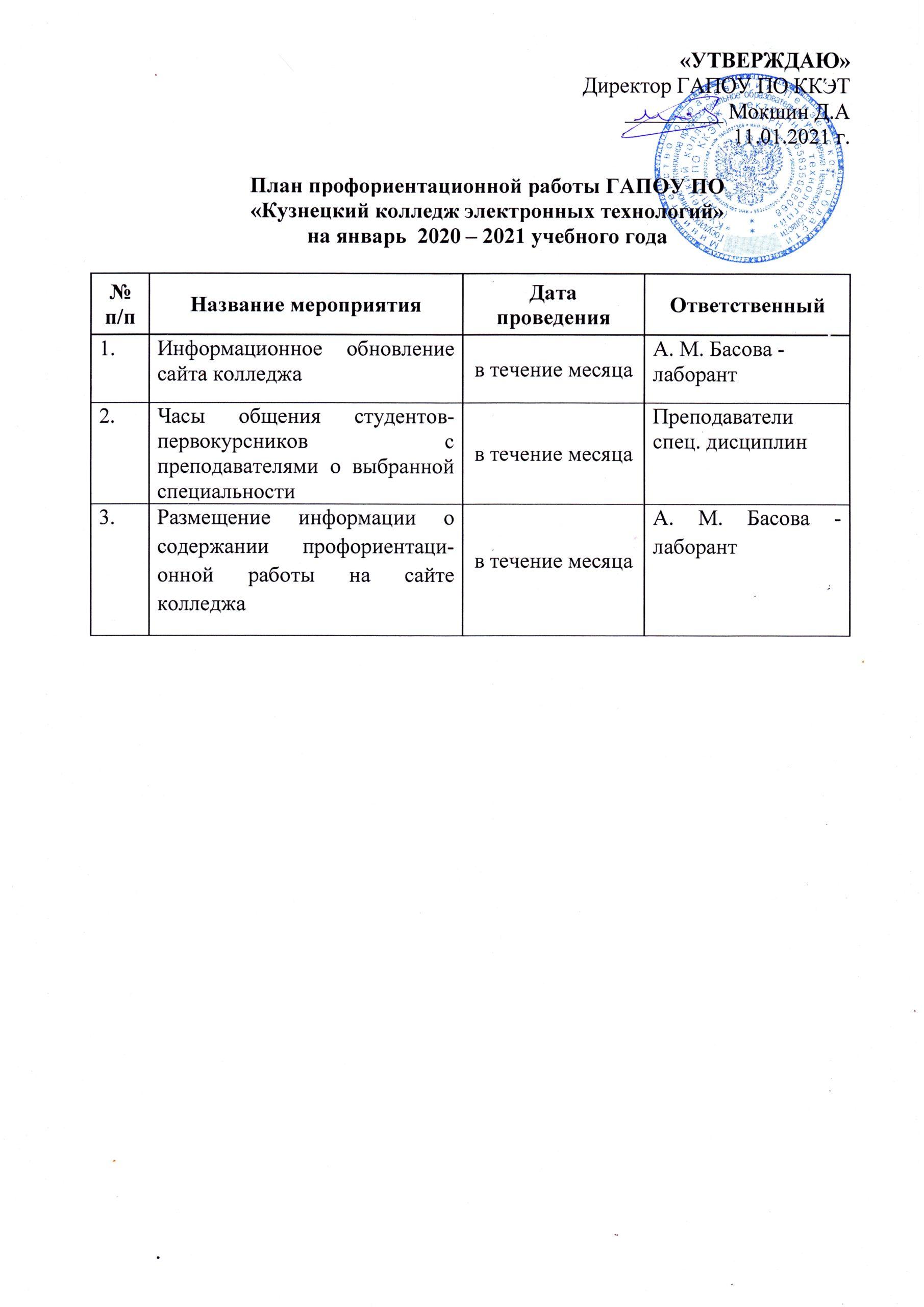 План профориентационной работы на январь 2020-2021 года